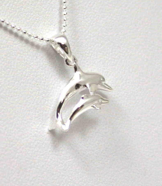 925 STERLING SILVER HIGH POLISH SHINY HAWAIIAN DOUBLE DOLPHIN PENDANT (DJ-6)
