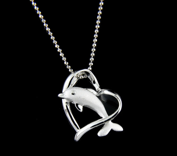 925 STERLING SILVER HAWAIIAN DOLPHIN JUMPING THRU SHINY HEART PENDANT (DJ-7)