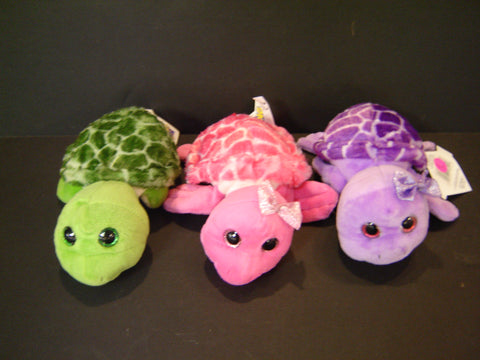 The Petting Zoo Bright Eyes Green, Purple and Pink Turtle (SA-24)
