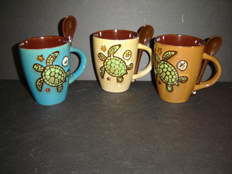 Ceramic Earth/Tone Turtle 10 ounce Mug and Spoon with 3 assorted colors (K-1)