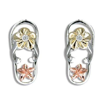 SILVER 925 TRICOLOR HAWAIIAN PLUMERIA FLIP FLOP SLIPPER POST EARRINGS CZ RHODIUM (FFJ-17)