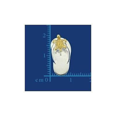 SILVER 925 HAWAIIAN SLIPPER FLIP FLOP THONG PENDANT YELLOW GOLD PLATED TURTLE (FFJ-4)