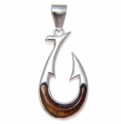 GENUINE INLAY HAWAIIAN KOA WOOD FISH HOOK PENDANT STERLING SILVER 925 SMALL 12MM (FH-12)