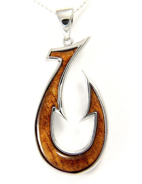 GENUINE INLAY HAWAIIAN KOA WOOD FISH HOOK PENDANT STERLING SILVER 925 LARGE 23MM (FH-23)