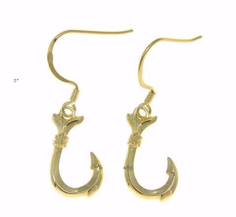 YELLOW GOLD STERLING SILVER 925 SHINY HAWAIIAN FISH HOOK WIRE HOOK EARRINGS (FH-8)