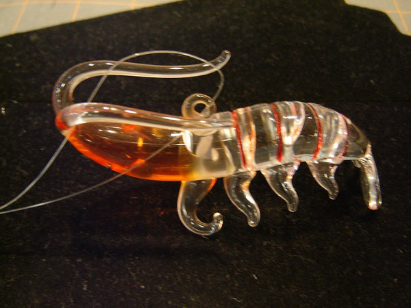 NEW GLASS SHRIMP CHRISTMAS ORNAMENT (CO-10)