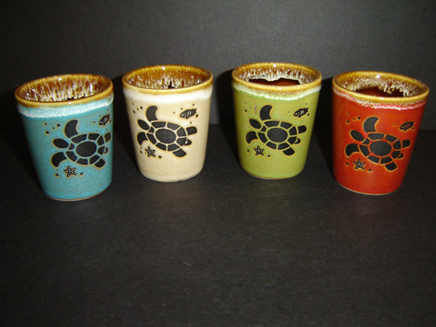 Sea Turtle Drip Glaze Ceramic Shot Glass with 4 assorted colors (K-10)