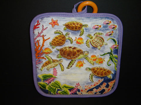Colorful Sea Turtle Oven Pot Holder or Glove for Kitchen use (K-17)