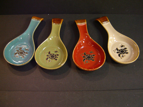 Ceramic Turtle Drip Glaze Spoon Rest - 4 Assorted Colors (K-5)