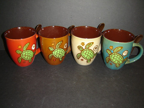 Ceramic Earth/Tone Turtle 16 ounce Mug and Spoon with 4 assorted colors (K-2)