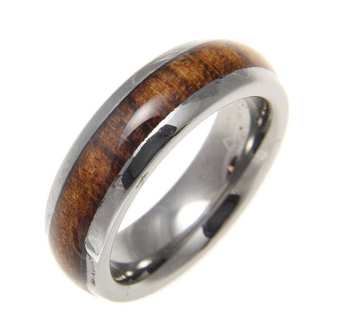 GENUINE INLAY HAWAIIAN KOA WOOD BAND RING TUNGSTEN COMFORT FIT DOME STYLE 6MM (KOA-1)