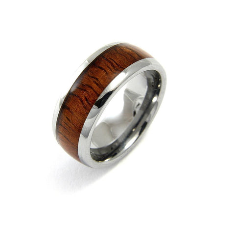 GENUINE INLAY HAWAIIAN KOA WOOD BAND RING TUNGSTEN COMFORT FIT 8MM (KOA-4)