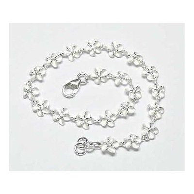 STERLING SILVER 925 HAWAIIAN PLUMERIA FLOWER BRACELET WHITE CZ 6MM 7 INCH (PB-1)
