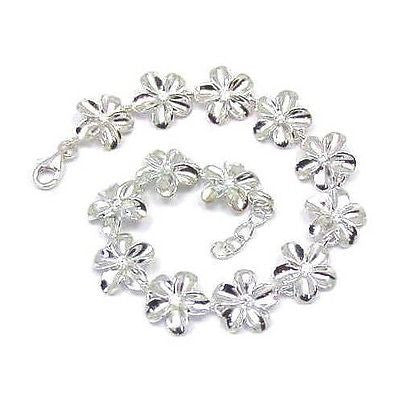 "SILVER 925 HIGH POLISH SHINY HAWAIIAN PLUMERIA FLOWER BRACELET CZ 12MM 7"" (PB-22)"