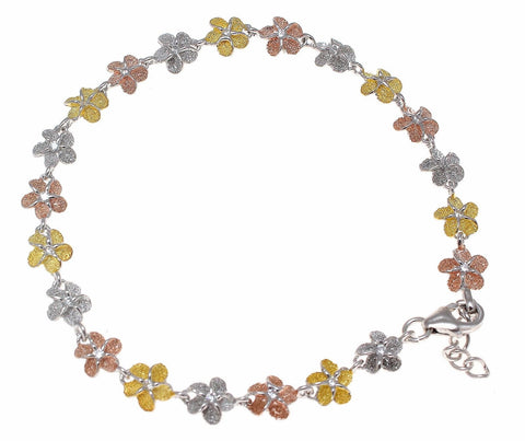 925 STERLING SILVER TRICOLOR HAWAIIAN PLUMERIA FLOWER BRACELET 6MM (PB-2)