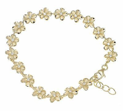 "YELLOW GOLD PLATED SILVER HAWAIIAN FANCY PLUMERIA FLOWER BRACELET CZ 8MM 7""+ (PB-30)"
