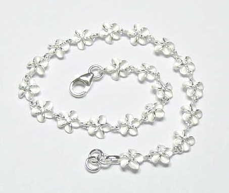 "STERLING SILVER 925 HAWAIIAN PLUMERIA FLOWER BRACELET WHITE CZ 6MM 7""  (PB-3)"