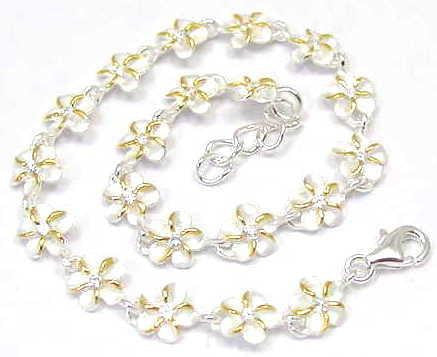 "YELLOW GOLD SILVER 925 HAWAIIAN PLUMERIA FLOWER LINK BRACELET CZ 2 TONE 6MM 7"" (PB-4)"