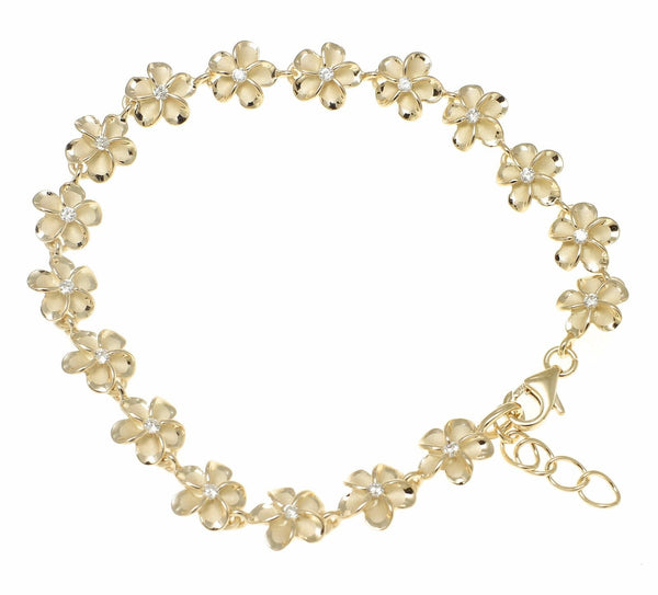"YELLOW GOLD PLATED SILVER HAWAIIAN FANCY PLUMERIA FLOWER BRACELET CZ 8MM 7""+ (PB-57)"