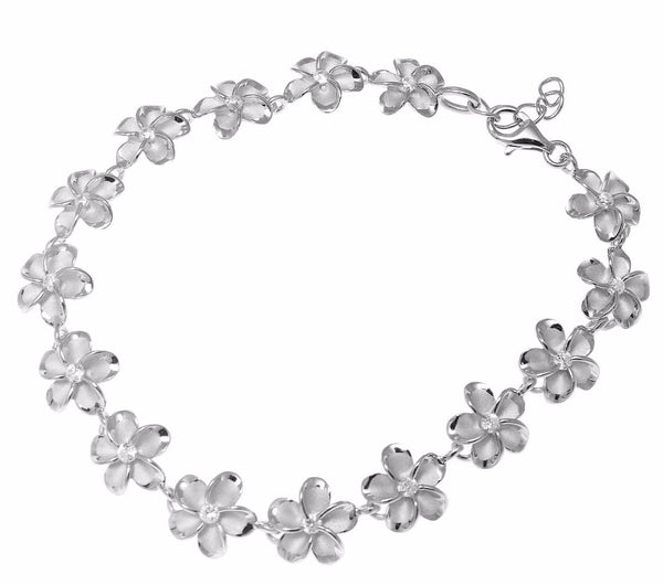 10MM STERLING SILVER 925 HAWAIIAN PLUMERIA FLOWER BRACELET RHODIUM (PB-64)