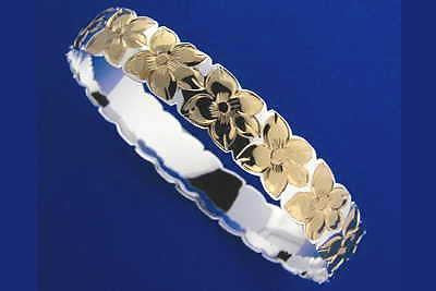 SILVER 925 HAWAIIAN BANGLE BRACELET PLUMERIA FLOWER ALL AROUND CUT OUT 10MM 2T (PB-69)