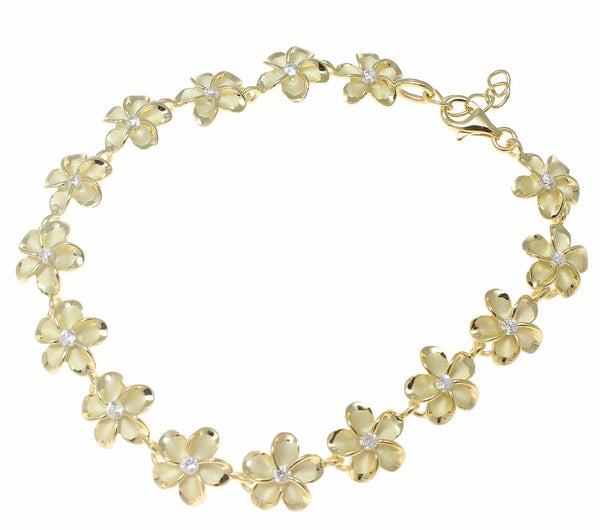 "YELLOW GOLD 925 SILVER HAWAIIAN FANCY PLUMERIA FLOWER BRACELET CZ 10MM 7""+ (PB-80)"