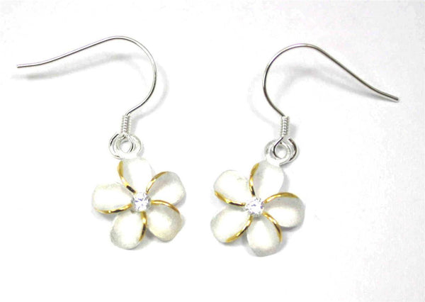 SILVER 925 HAWAIIAN PLUMERIA EARRINGS ON WIRE HOOK 2 TONE CZ 15MM (PE-100)
