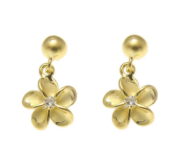YELLOW GOLD ON SILVER 925 BALL DANGLE 8MM HAWAIIAN PLUMERIA FLOWER POST EARRINGS (PE-109)