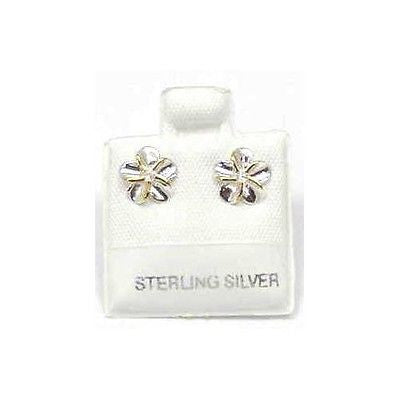 SILVER 925 SHINY HAWAIIAN PLUMERIA EARRINGS CZ 8MM 2T (PE-10)