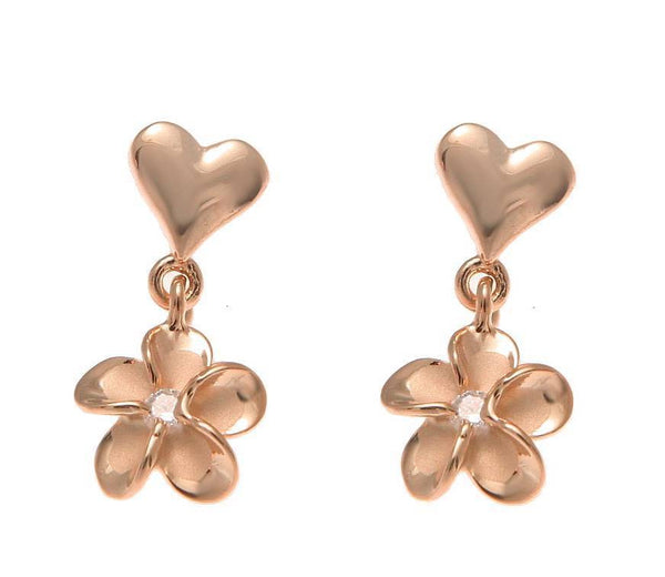 ROSE GOLD STERLING SILVER 925 HEART DANGLE HAWAIIAN PLUMERIA FLOWER EARRINGS (PE-114)