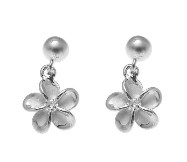 STERLING SILVER 925 RHODIUM BALL DANGLE 8MM HAWAIIAN PLUMERIA FLOWER EARRINGS (PE-119)