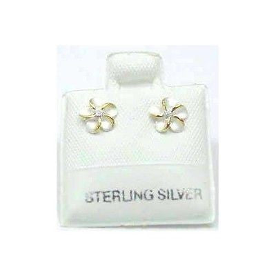 STERLING SILVER 925 HAWAIIAN PLUMERIA FLOWER STUD EARRINGS 8MM 2 TONE (PE-11)