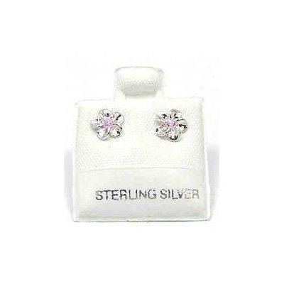 SILVER 925 SHINY HAWAIIAN PLUMERIA EARRINGS PINK CZ 8MM (PE-12)
