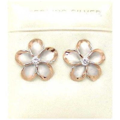 15MM SILVER 925 HAWAIIAN PLUMERIA EARRINGS RHODIUM PG (PE-131)