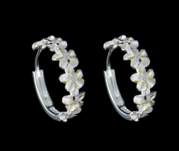 STERLING SILVER 925 2 TONE YELLOW 6 HAWAIIAN PLUMERIA FLOWER HOOP EARRINGS CZ (PE-134)