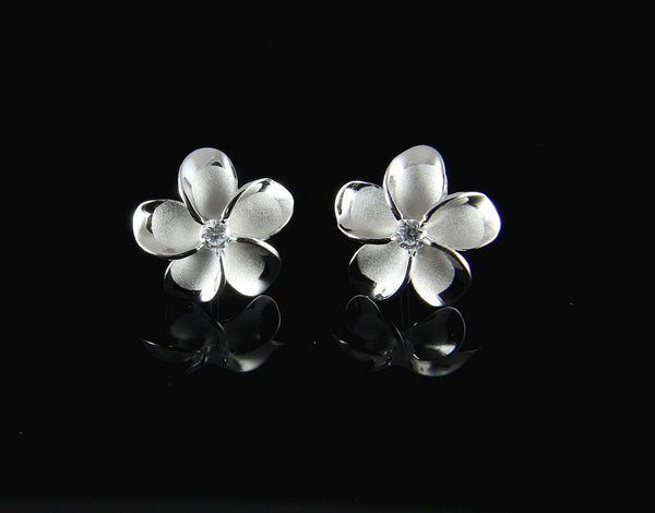 15MM STERLING SILVER 925 HAWAIIAN PLUMERIA FLOWER STUD POST EARRINGS RHODIUM (PE-136)