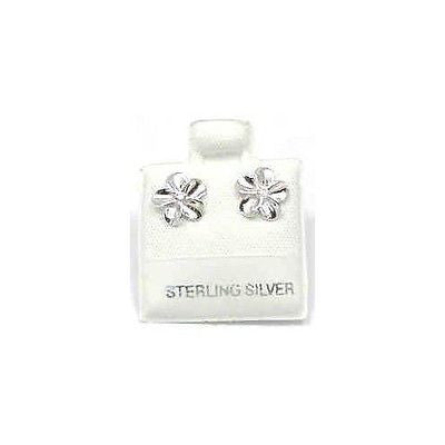 SILVER 925 SHINY HAWAIIAN PLUMERIA EARRINGS CZ 8MM (PE-13)