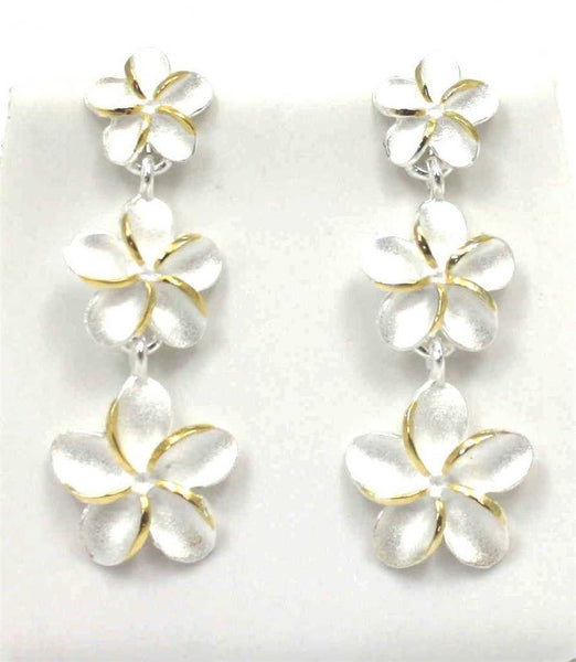 SILVER 925 HAWAIIAN 3 PLUMERIA FLOWER DANGLE EARRINGS 8mm 10mm 12mm 2TONE (PE-143)