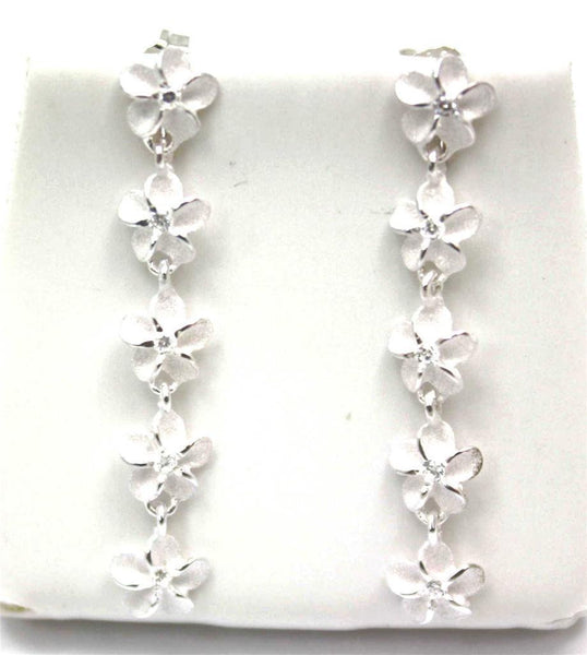 SILVER 925 HAWAIIAN PLUMERIA FLOWER 6MM DANGLE EARRINGS CZ (PE-144)