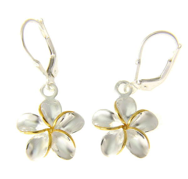 15MM SILVER 925 SHINY HAWAIIAN PLUMERIA FLOWER LEVERBACK EARRINGS YELLOW 2 TONE (PE-147)