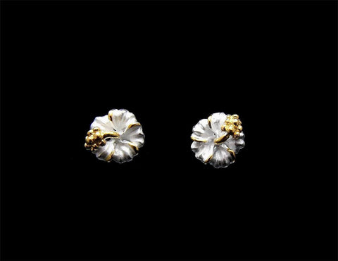 YELLOW GOLD PLATED 2 TONE SILVER 925 HAWAIIAN HIBISCUS STUD EARRINGS 6MM -15MM (PE-14)