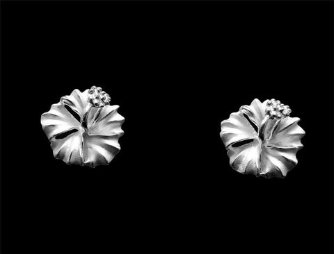 STERLING SILVER 925 HAWAIIAN HIBISCUS FLOWER STUD POST EARRINGS 6MM -15MM (PE-15)