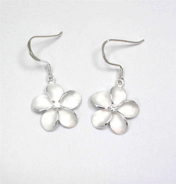 SILVER 925 HAWAIIAN PLUMERIA EARRINGS ON WIRE HOOK CZ 18MM (PE-186)