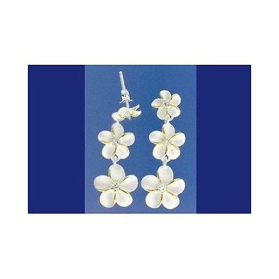 SILVER 925 HAWAIIAN 3 PLUMERIA FLOWER 8MM-10MM-12MM DANGLE EARRINGS CZ 2 TONE (PE-187)