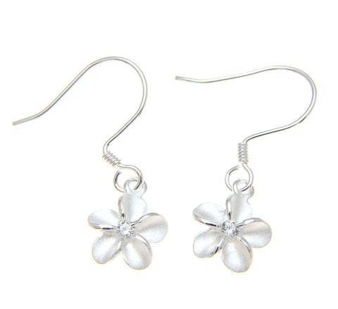 STERLING SILVER 925 HAWAIIAN PLUMERIA FLOWER EARRINGS HOOK WIRE CZ 8MM (PE-18)
