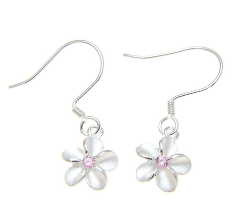 STERLING SILVER 925 HAWAIIAN PLUMERIA FLOWER EARRINGS WIRE HOOK PINK CZ 8MM (PE-19)