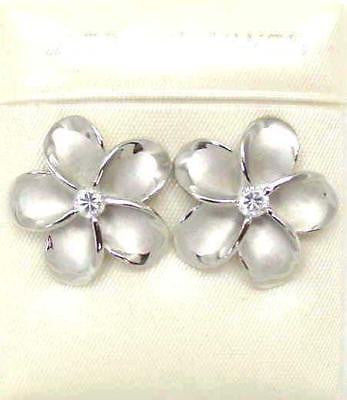 18MM SILVER 925 HAWAIIAN PLUMERIA EARRINGS RHODIUM (PE-200)