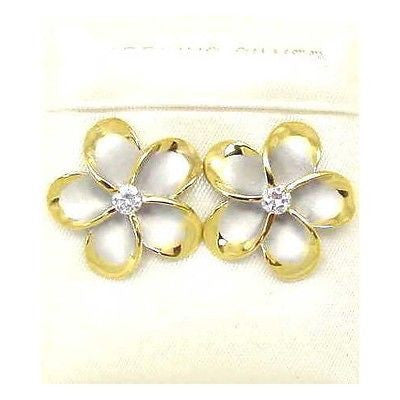 18MM SILVER 925 HAWAIIAN PLUMERIA EARRINGS RHODIUM YG (PE-201)