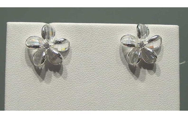 925 SILVER FACET WHITE NATURAL CRYSTAL HAWAIIAN PLUMERIA FLOWER EARRINGS (PE-203)