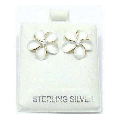 SILVER 925 HAWAIIAN PLUMERIA FLOWER EARRINGS 20MM 2T (PE-204)
